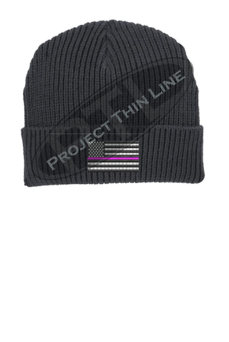 Thin PINK Line American Flag Winter Watch Hat