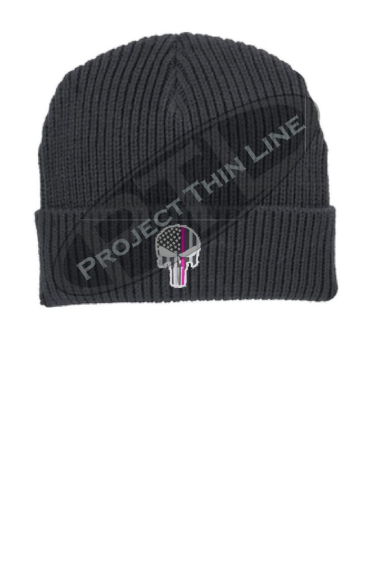 Thin PINK Line Punisher Skull inlayed with the American Flag Winter Watch Hat