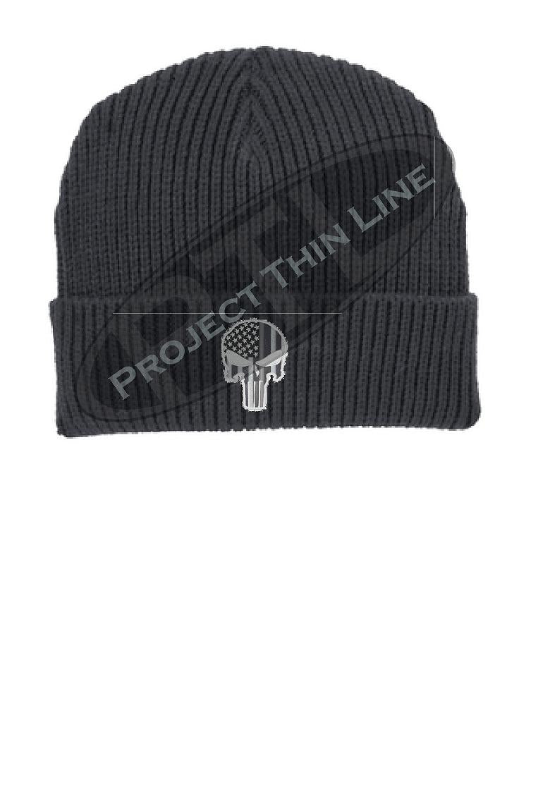 Thin SILVER Line Punisher Skull inlayed with the American Flag Winter Watch Hat
