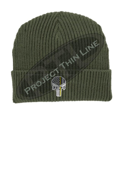 Thin YELLOW Line Punisher Skull inlayed with the American Flag Winter Watch Hat