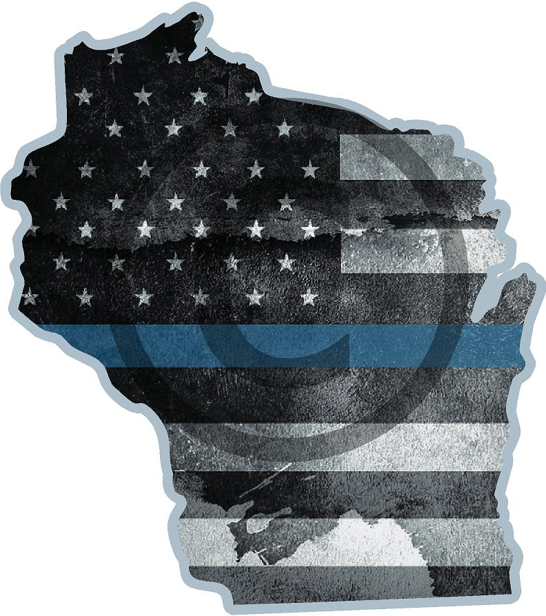 "5"" Wisconsin WI Tattered Thin Blue Line State Sticker Decal"