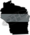 "5"" Wisconsin WI Thin Silver Line Black State Shape Sticker"