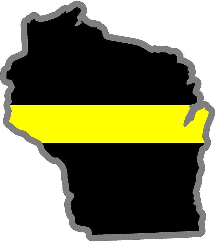 "5"" Wisconsin WI Thin Yellow Line Black State Shape Sticker"