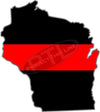 "5"" Wisconsin WI Thin Red Line State Sticker Decal"