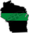 "5"" Wisconsin WI Thin Green Line Black State Shape Sticker"
