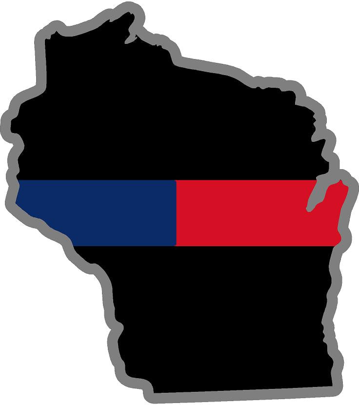 "5"" Wisconsin WI Thin Blue / Red Line Black State Shape Sticker"