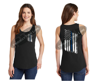 Women's Thin BLUE Line Tattered American Flag Tank Top