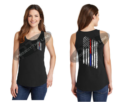 Black Women's Thin Blue / Red Line Tattered American Flag Tank Top