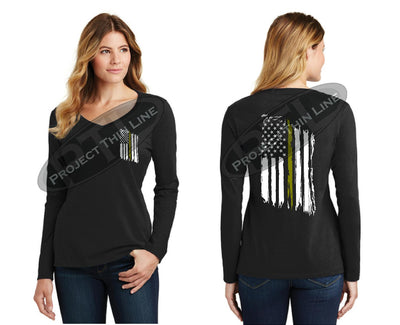 Thin GOLD Line Tattered American Flag V Neck Long Sleeve Shirt