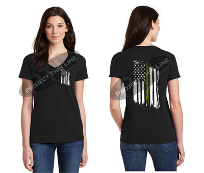 Women's Thin GOLD Line Tattered American Flag V Neck Cap Short  Sleeve Shirt