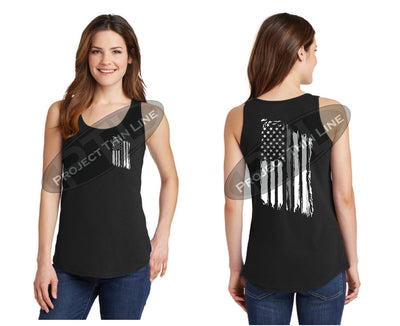 BLACK Women's Thin SILVER Line Tattered American Flag Tank Top