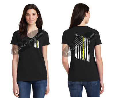 BLACK Womens Thin YELLOW Line Tattered American Flag V Neck Short Sleeve Shirt