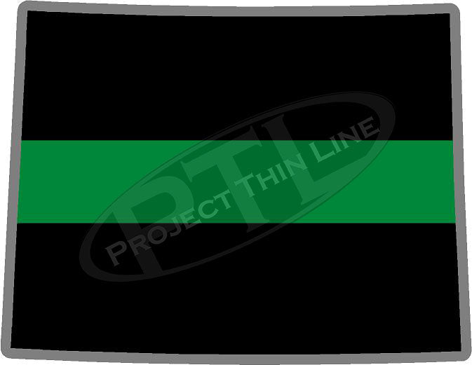 "5"" Wyoming WY Thin Green Line Black State Shape Sticker"