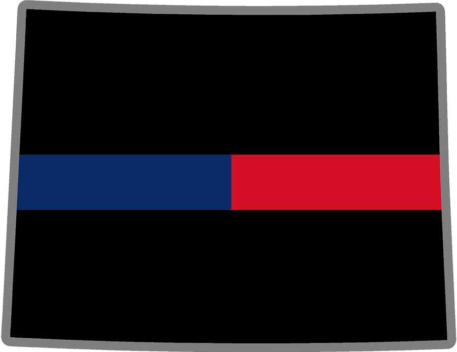 "5"" Wyoming WY Thin Blue / Red Line Black State Shape Sticker"