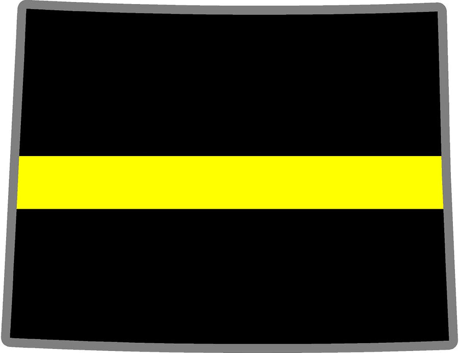 "5"" Wyoming WY Thin Yellow Line Black State Shape Sticker"