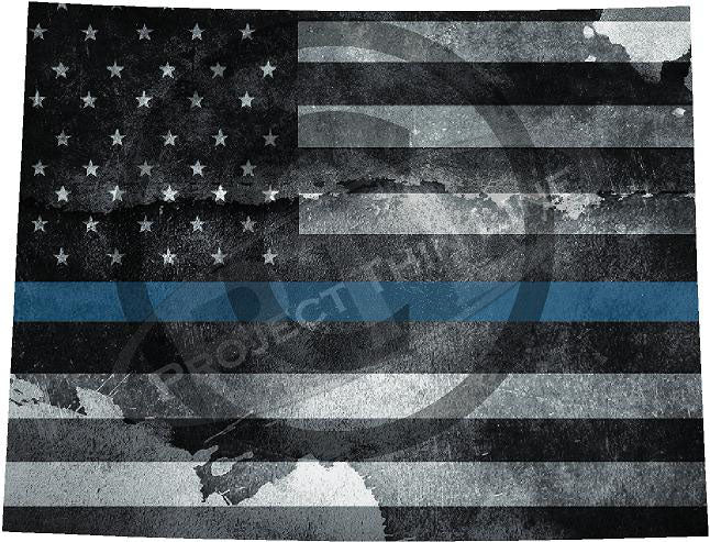 "5"" Wyoming WY Tattered Thin Blue Line State Sticker Decal"
