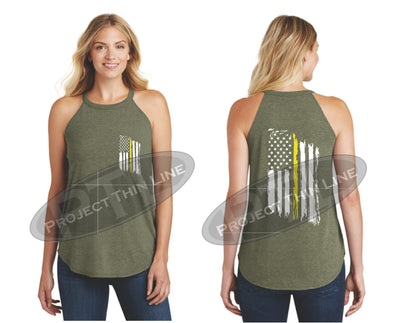 OD Green Tattered Thin YELLOW Line American Flag Rocker Tank Top