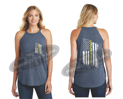 Navy Tattered Thin YELLOW Line American Flag Rocker Tank Top
