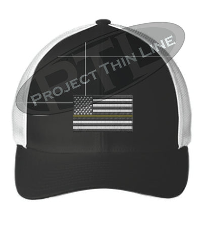 Black / White Embroidered Thin Yellow Line American Flag Flex Fit Fitted TRUCKER Hat