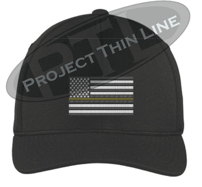 Black Embroidered Thin GOLD Line American Flag Flex Fit Fitted Hat