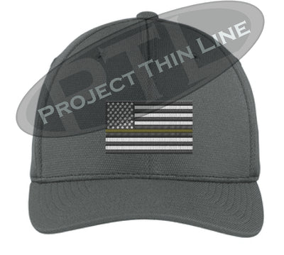 Dark Grey Embroidered Thin GOLD Line American Flag Flex Fit Fitted TRUCKER Hat