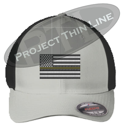 Light Grey Embroidered Thin Yellow Line American Flag Flex Fit Fitted TRUCKER Hat