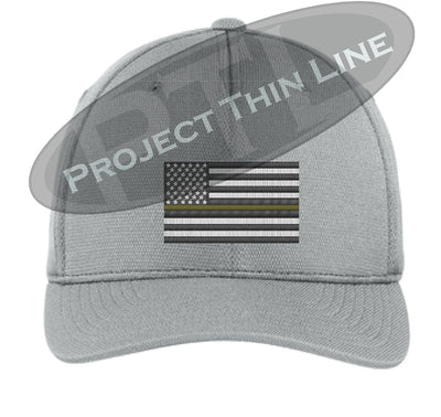 Light Grey Embroidered Thin Yellow Line American Flag Flex Fit Fitted Hat