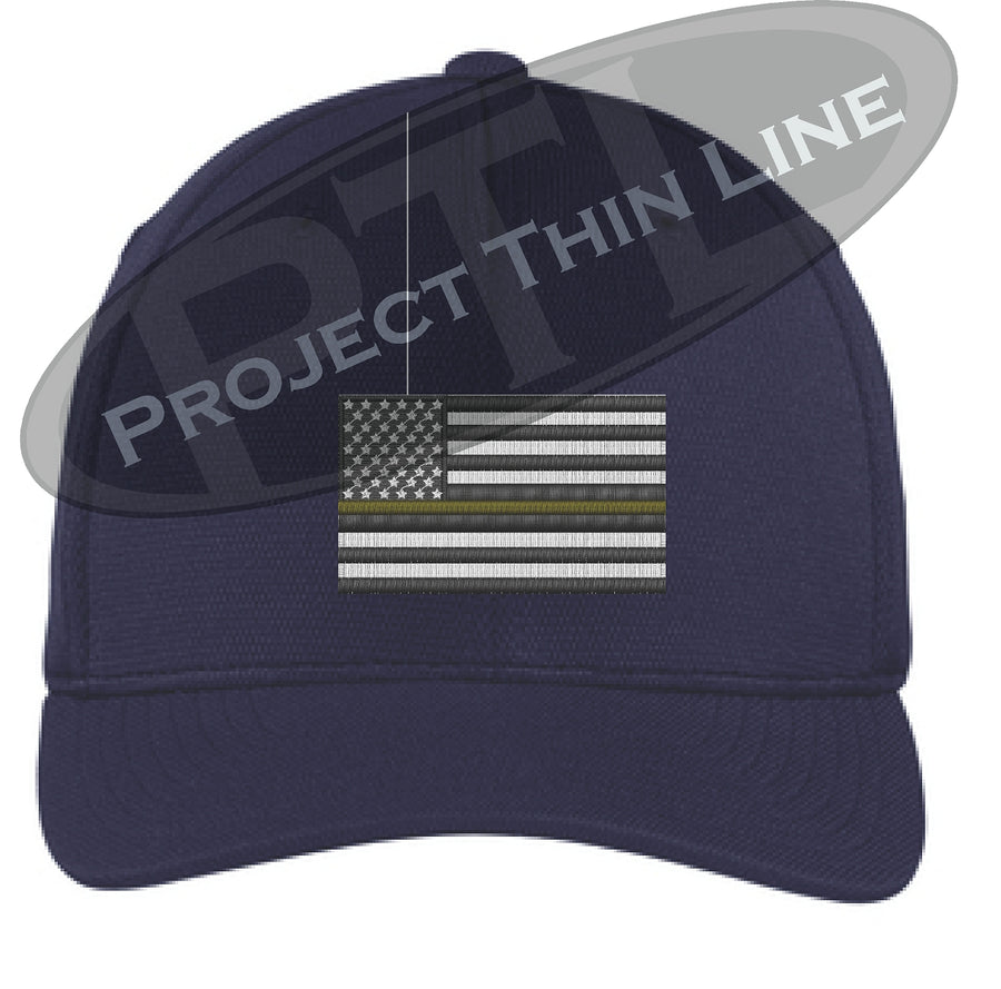 Black Embroidered Thin Yellow Line American Flag Flex Fit Fitted TRUCKER Hat