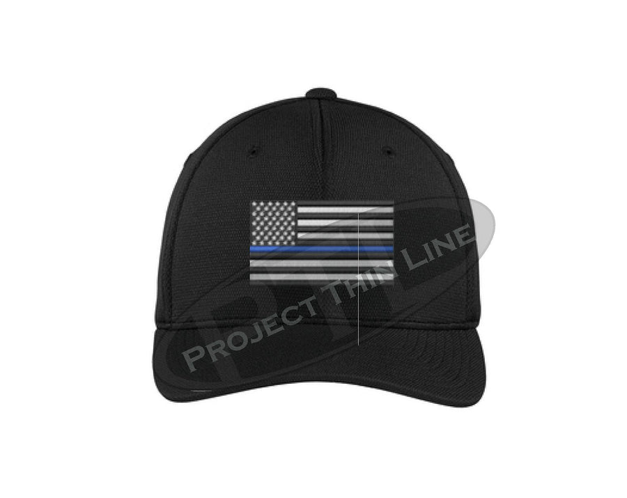 Black Embroidered Thin Blue Line American Flag Flex Fit Hat