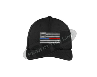Black Embroidered Thin Blue / Red Line American Flag Flex Fit Hat