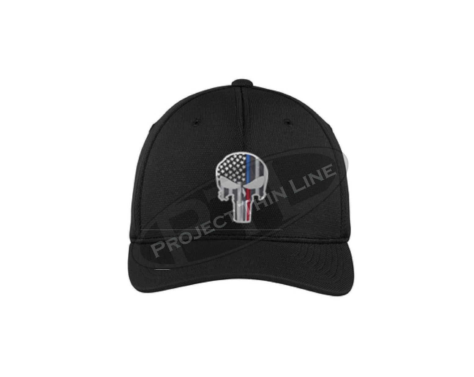 3077fac0 Embroidered Thin Blue / Red Line Punisher Skull with American Flag Flex Fit  TRUCKER Hat fitted