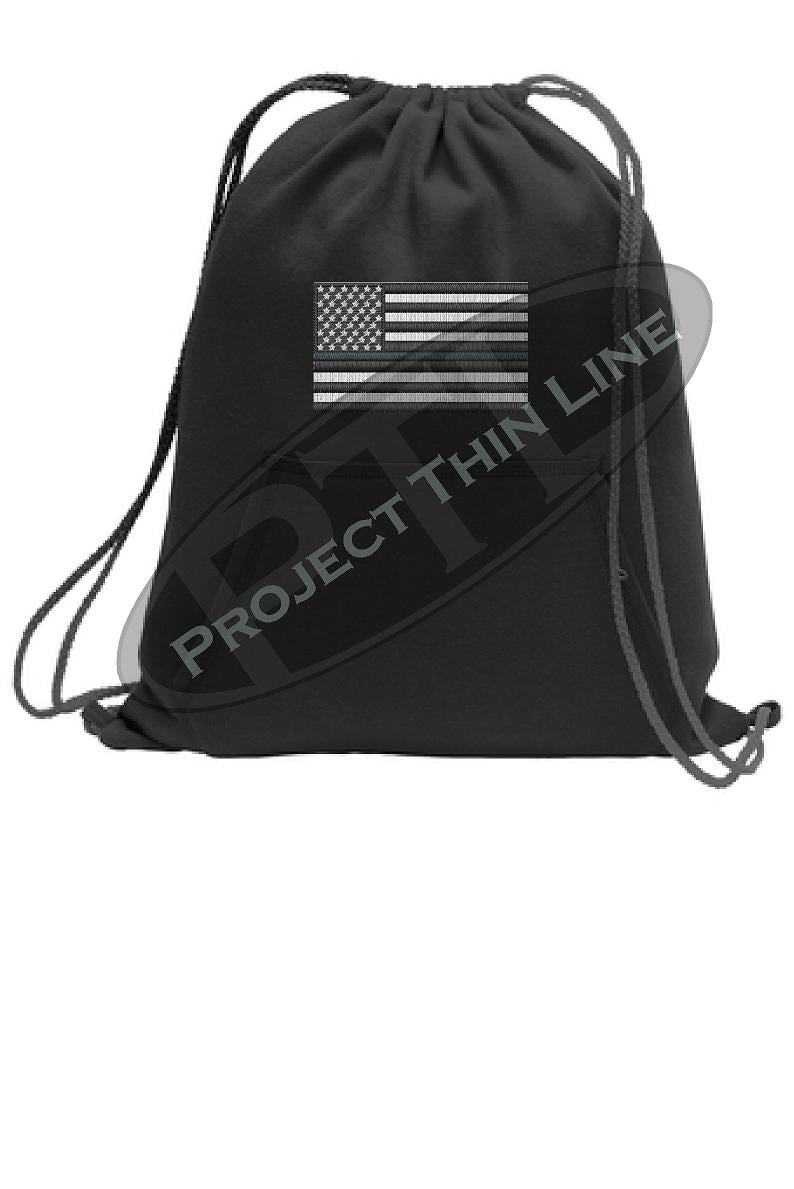 Thin SILVER Line Flag Cinch Sack Backpack