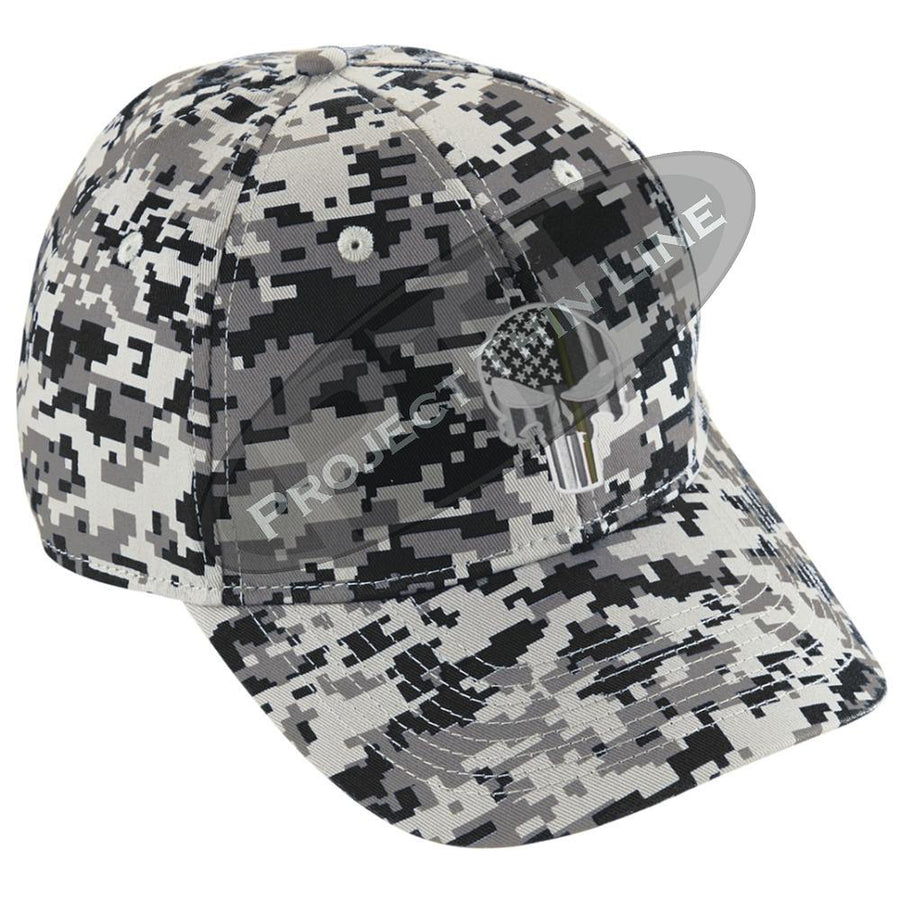 Digital Camo Baseball Hat embroidered Subdued Thin Gold Line Punisher Skull American Flag