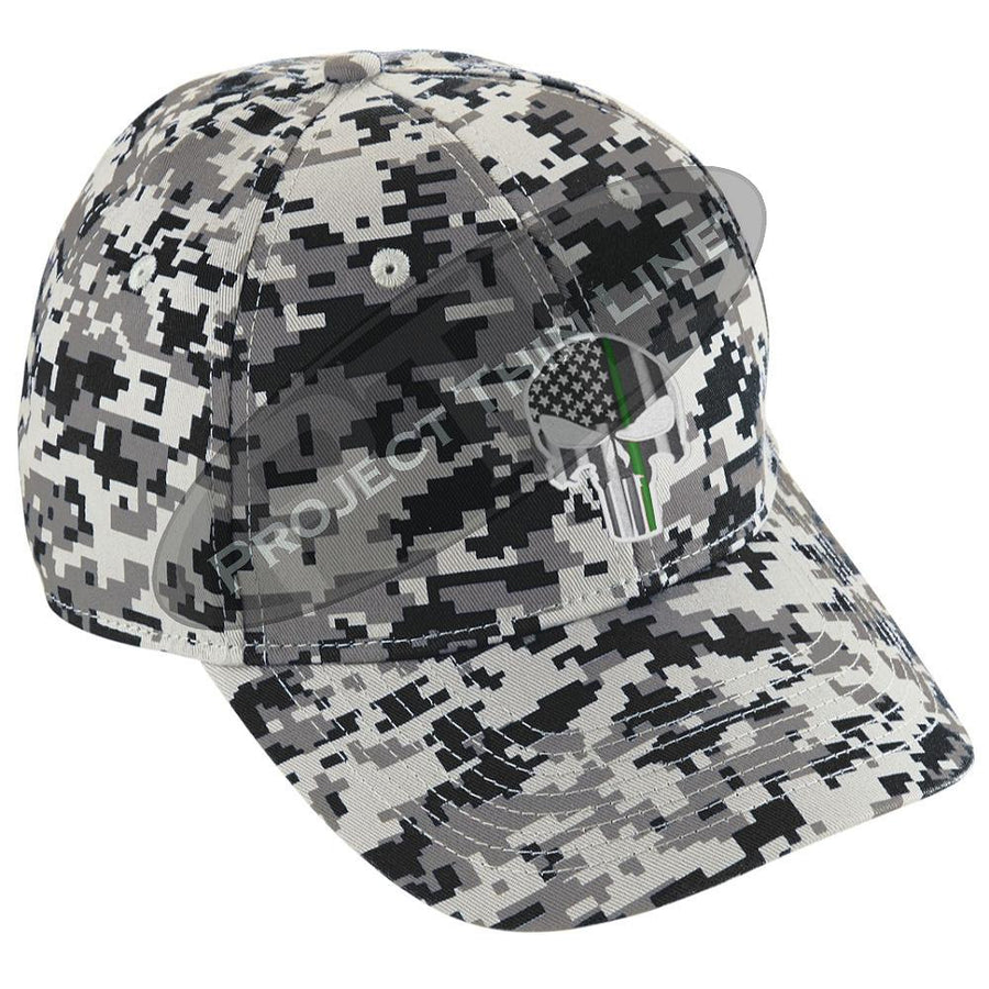 Embroidered Thin GREEN Line Skull Digital Camo Hat