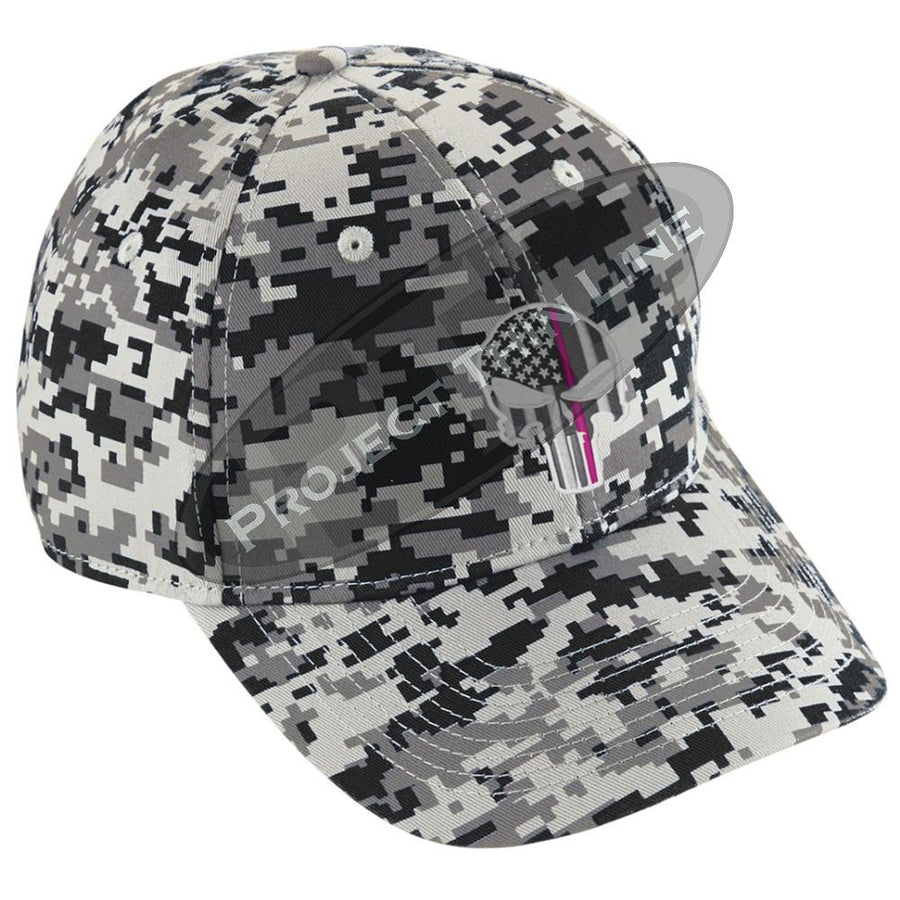 Embroidered Thin PINK Line Skull Digital Camo Hat