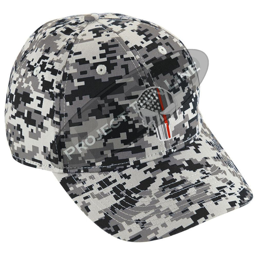 Embroidered Thin RED Line Skull Digital Camo Hat