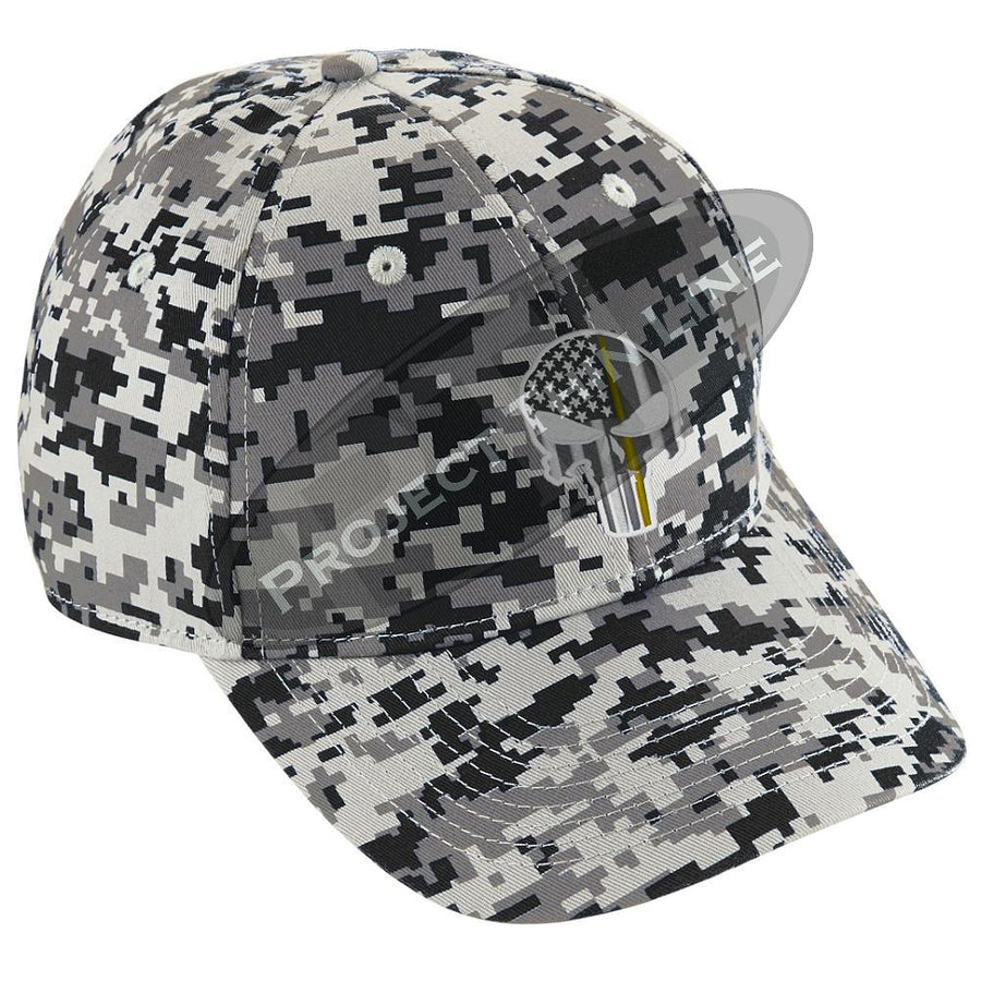 Embroidered Thin YELLOW Line Skull Digital Camo Hat