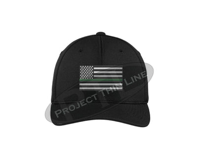 BLACK Embroidered Thin Green Line American Flag Flex Fit Hat