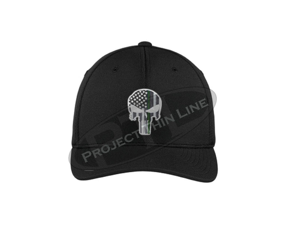 BLACK Embroidered Thin Green Line Punisher Skull with American Flag Flex Fit Hat