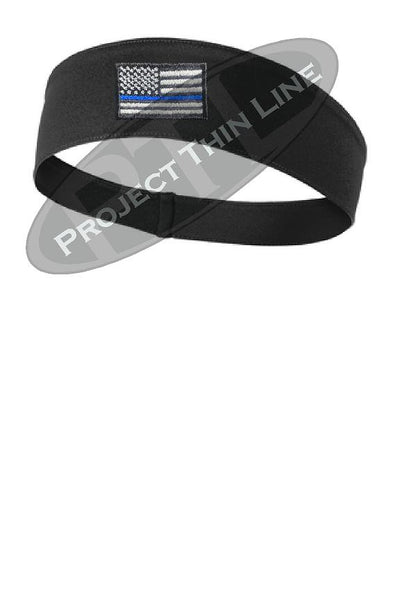 Black Thin BLUE Line American Flag Moisture Wicking Competitor Headband