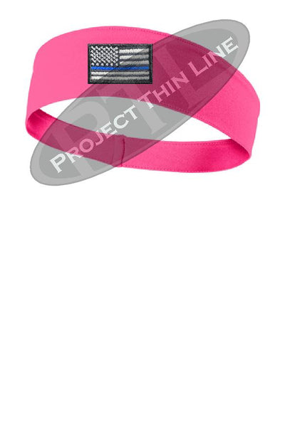 Pink Thin BLUE Line American Flag Moisture Wicking Competitor Headband