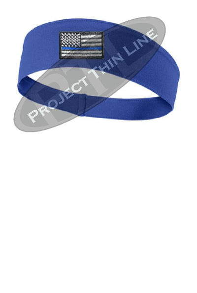 Royal Thin BLUE Line American Flag Moisture Wicking Competitor Headband