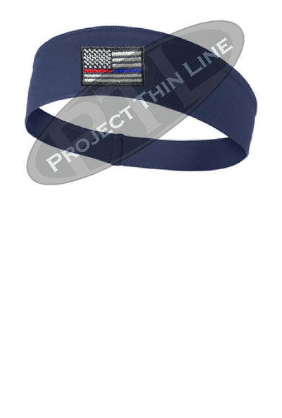 Navy Thin Blue / Red Line American Flag Moisture Wicking Competitor Headband