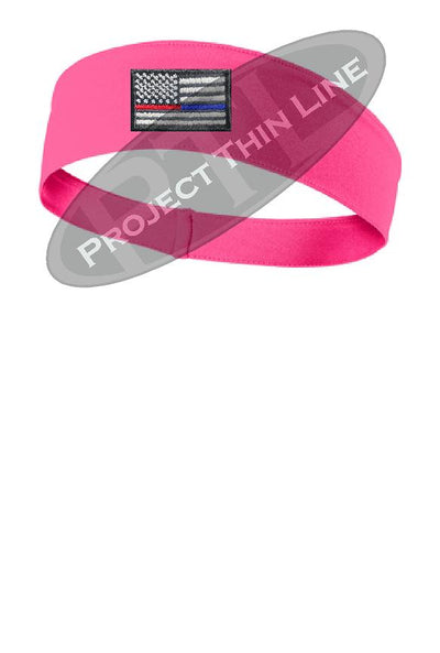 Pink Thin Blue / Red Line American Flag Moisture Wicking Competitor Headband