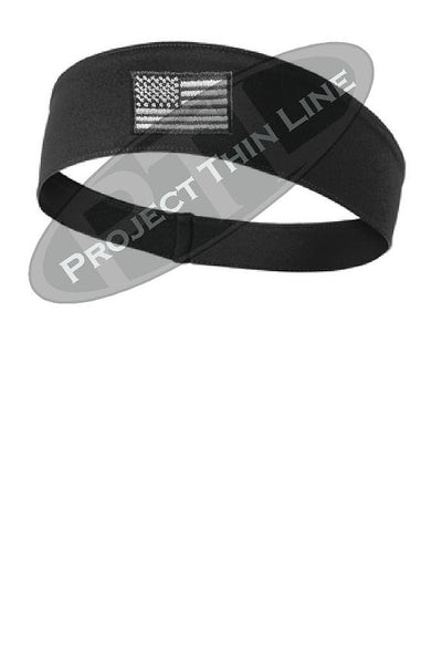 Black Tactical Subdued Line American Flag Moisture Wicking Competitor Headband