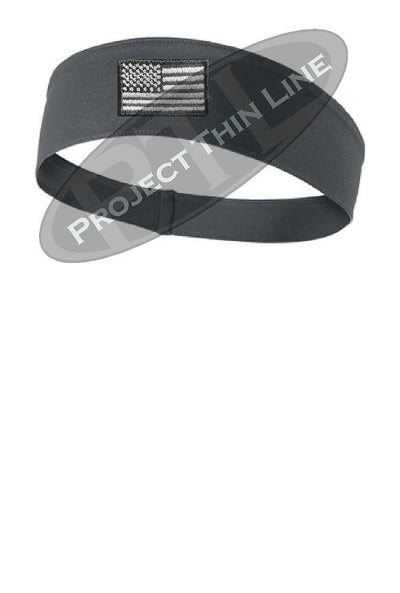 Charcoal Tactical Subdued Line American Flag Moisture Wicking Competitor Headband
