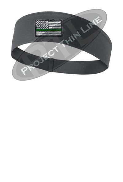 Charcoal Thin Green Line American Flag Moisture Wicking Competitor Headband