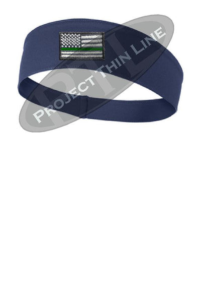 Navy Thin Green Line American Flag Moisture Wicking Competitor Headband