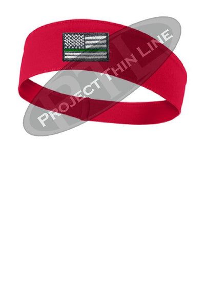 Red Thin Green Line American Flag Moisture Wicking Competitor Headband
