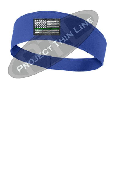 Royal Thin Green Line American Flag Moisture Wicking Competitor Headband